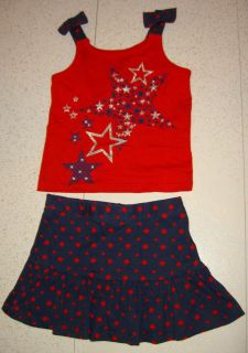 New Red White & Blue Glitter Star Print Tank Top w/Bow Straps & Navy Skirt w/Attached Shorts & Red Star Print 2Pc Set 4T