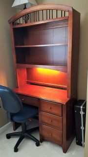 Beautiful Cherry chest of drawers/matching desk with inset lighting/and office chair