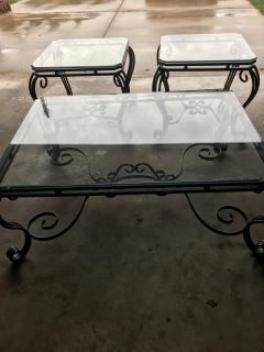 Wrought Iron Coffee and End Tables