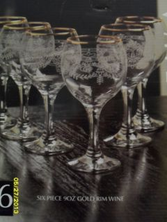 CLEARANCE Circleware Queen Anne Collection 6 Piece 9 oz Gold Rim Wine Glasses