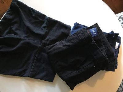 Lot of navy blue and black school pants plus under shorts