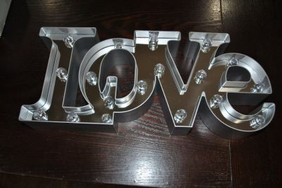 "Bright 7"" Tall Large LED Love Mirror Sign"