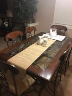 Wrought Iron Glass Inset Dining Table w/6 Chairs