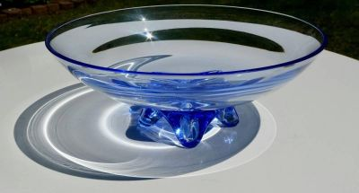 Beautiful Hand Blown Footed Glass Bowl w/ Blue Rim