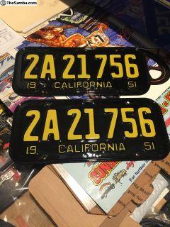 1951 CA License plates-RESTORED