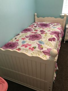 Solid wood twin bed with mattress