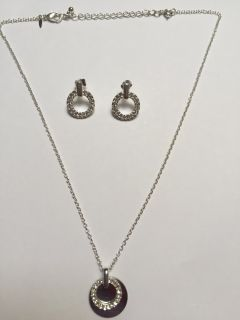 Silver Rhinestone Necklace & Earrings Set w/chain extension
