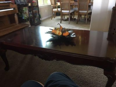 Vintage cherry wood coffee table with 2 end tables
