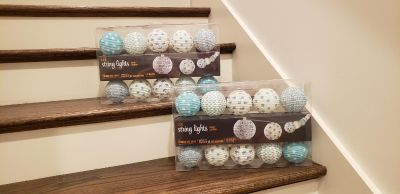 LED String Paper Lantern Lights. Set of 2. NIB. 10 Bulbs per String. Cord Length 11.5 ft. Indoor Use Only.