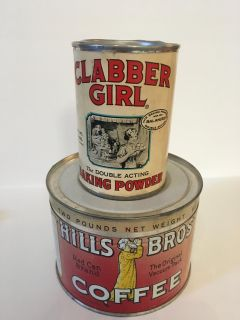 Old-School Antique Clabber Girl Baking Powder & Hills Brothers Coffee Tins