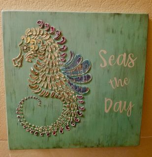 Seas the Day Seahorse Hand Painted Wood Sign