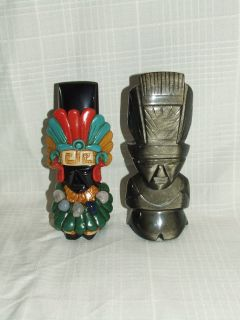 2 ~ Aztec Mayan Tiki Idol God Chief Figurine Black Iridescent Obsidian
