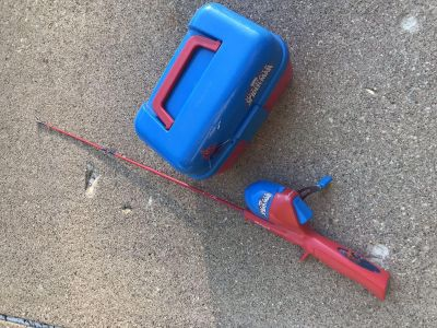 Spider-Man fishing pole and tackle box