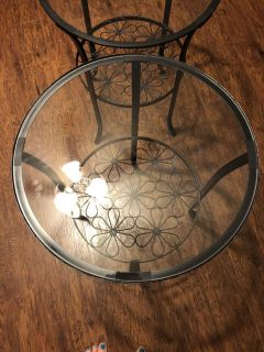 Two IKEA side tables with glass centers