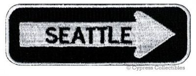 Sell SEATTLE ROAD SIGN BIKER PATCH embroidered iron-on MOTORCYCLE VEST EMBLEM new motorcycle in Austin, Texas, United States
