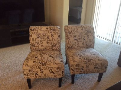 Two living room casual chairs.