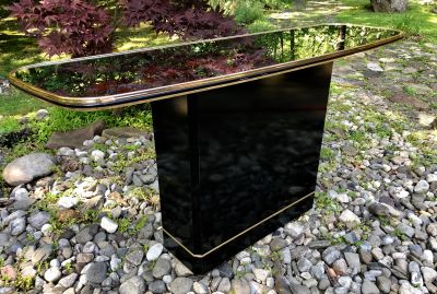 Vintage Bar Console Table Black Lacquer Mirror Top