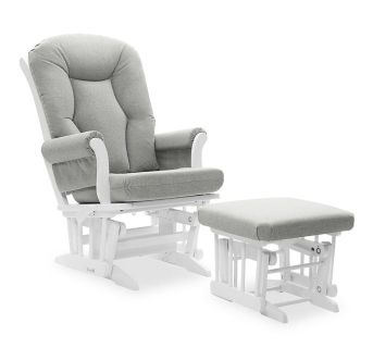 Dutailier Victoria Reclining Glider and Ottoman in Grey/White-NEW