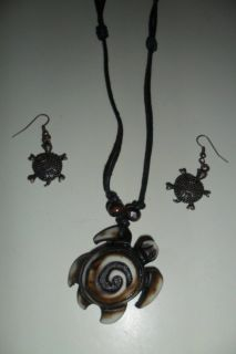 turtle necklace and earring set
