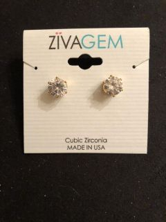 NWT gold tone cubic zirconia earrings. Rep samples. Ppu