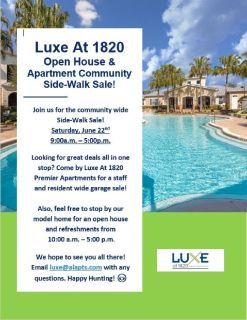 Luxe at 1820 Yard Sale, Saturday June 22nd, 9:00 a.m.- 5:00 p.m.