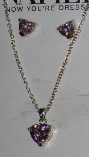 new napier pink heart necklace/earrings