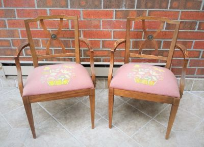 2 Vintage 1950s Drexel Upholstered Wood Armchairs