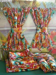 VW Camper Van Tie-Dye Print Curtains w/Cabin Divid