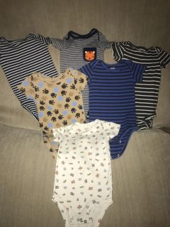 Set of six onesies size 6-12m all Carter s brand stripes, animals, and puppy paws