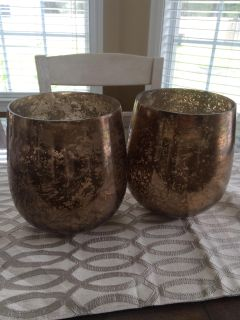 Excellent condition pair mercury glass large candle holders