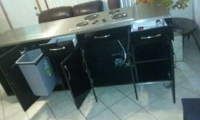 electric stove counter top with mini fridge