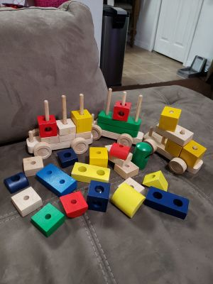 Wooden Blocks and Train Set