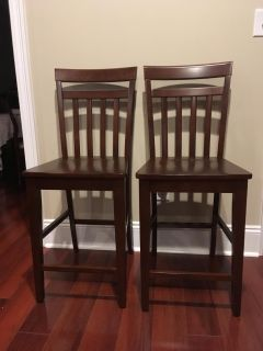 """New Set of Two Solid Wood 24"""" Counter Height Bar Stools"""