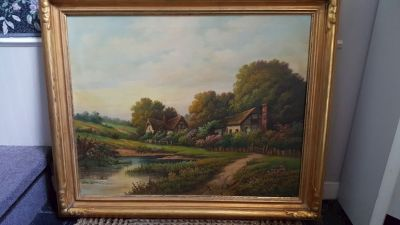 THOMAS MANNING MOORE Signed OIL ON CANVAS COUNTRY LANDSCAPE PAINTING