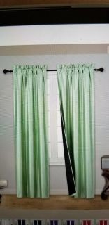 2 PC Thick Blackout Insulated Room Darkening Rod Pocket Window Curtain Sage Green NEW