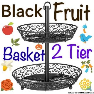 Fruit Basket Decorative Black Wire Design Round 2-Tier Multi