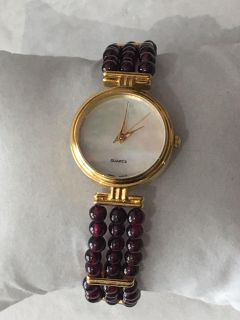 Beautiful Amethyst Stone Mother Of Pearl Watch -New Battery