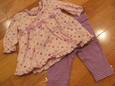 Size 0-3 mo pink and purple tunic outfit with striped pants