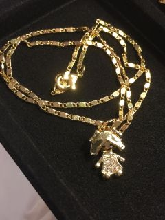 18k GPL Baby Girl Pendant With Chain