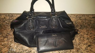 Coach Black Leather Ashley Purse and Wallet Set