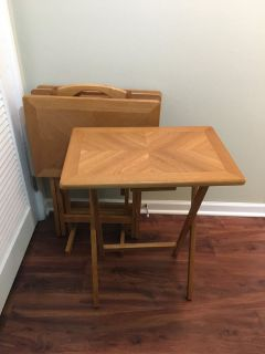 TV Tray Tables and Stand - Set of 4