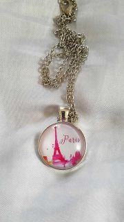 Silver and Pink Paris Dome Necklace