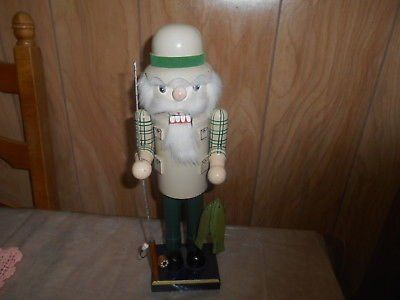 """14"""" Wood Nutcracker Figure! Fisherman with Rod, Reel, and Fish!"""