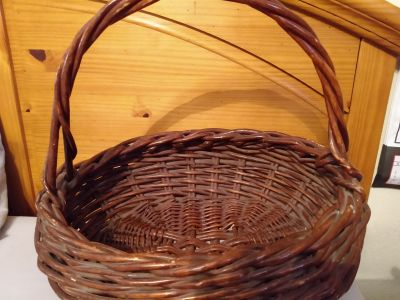 Thick large old wicker basket