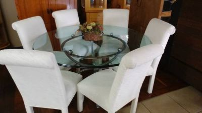 Round Glass Table Dinning Set w/ Chairs