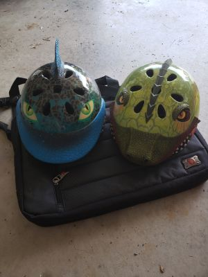 Shark and dinosaur helmet