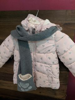Little girls winter coat and scarf