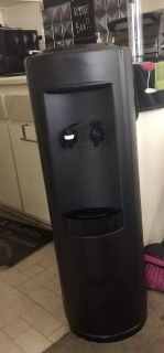 Black water cooler with cold and room temperature dispensers