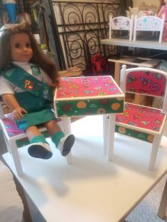 GIRL SCOUT THEMED TABLE/ CHAIRS
