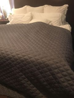 DKNY Queen size grey bed coverlet